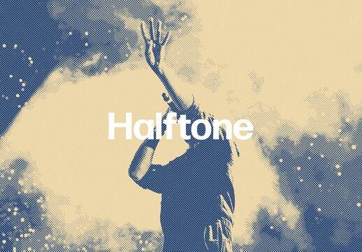 Halftone Printing Photo Effect Mockup