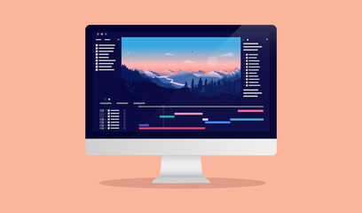 Video editing on desktop computer - Software to edit videos on screen with nature landscape scene, timeline and user interface. Multimedia and film production concept. Vector illustration