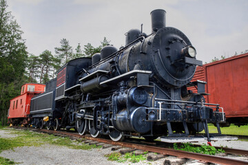 old locomotive and caboose