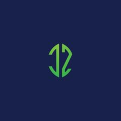 Fototapeta Creative initial letters CZ with eco leaf shape logo. obraz