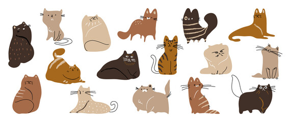 Cute cat doodle vector set. Cartoon cats or kitten characters design collection with flat color in different poses. Set of purebred pet animals isolated on white background.
