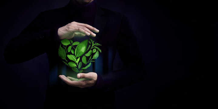 ESG Concept. Green Leaf as Heart Shape Protected by Gentle Gesture. Green Energy, Renewable and Sustainable Resources. Environmental and Ecology Care