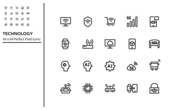 set of technology line icon, ai, robot, vr, ar