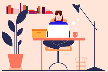Fototapeta Illustration of a girl woman in her room, flat, working, drinking tea. Hybrid working. Vector illustration. obraz