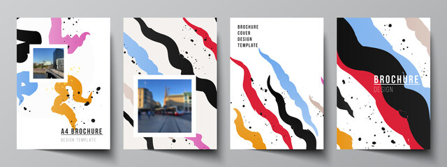 Vector layout of A4 cover mockups design templates for brochure, flyer layout, booklet, cover design, book design, brochure cover, creative agency, corporate, business, portfolio, pitch deck, startup.