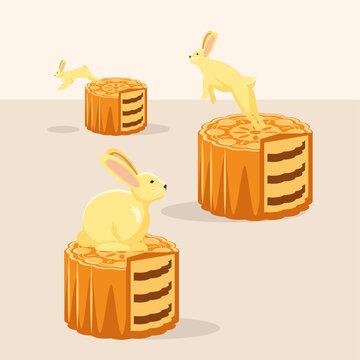 rabbits and mooncake dessert