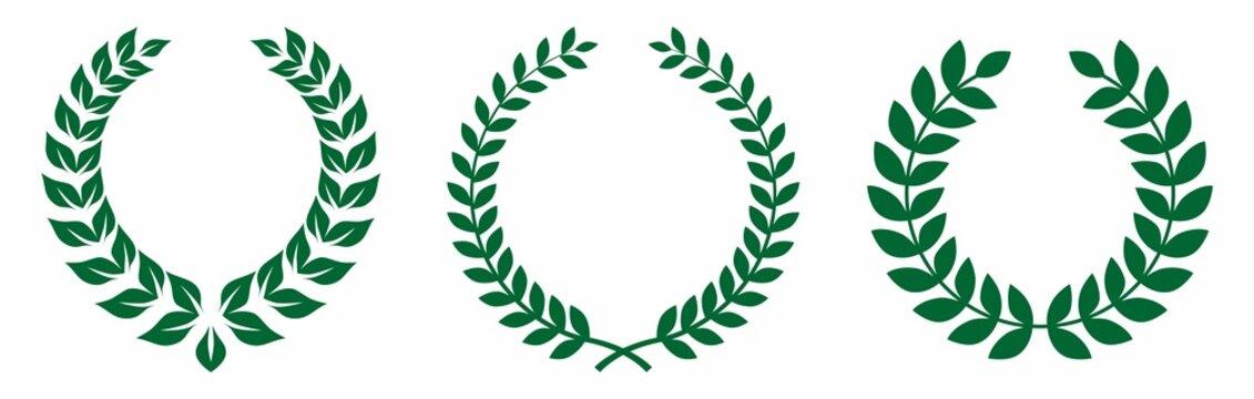 natural green floral laurel wreath vector collection set