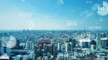 Obraz ビジネスと統計 都市とネットワーク - fototapety do salonu