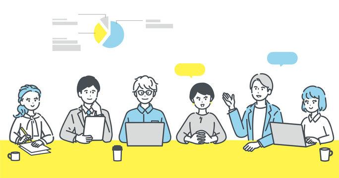 会議をするビジネスパーソンのイラスト素材
