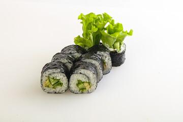 Fototapeta Japanese maki with cucumber and salad obraz
