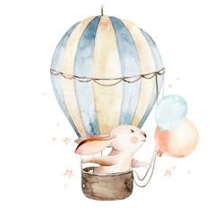Cute cartoon rabbit animal hand drawn watercolor bunny illustration with air balloon. kids nursery wear fashion design, baby shower invitation card.