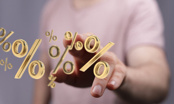 Blurred sale background percent 3d