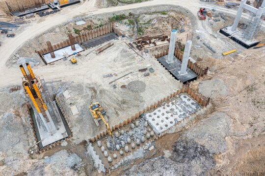 Drone view of road or bridge construction site.
