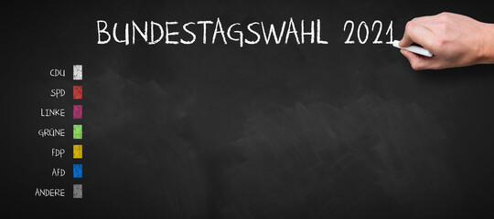 German message for GERMAN PARLIAMENT ELECTION 2021 and a list of all major parties on a chalkboard