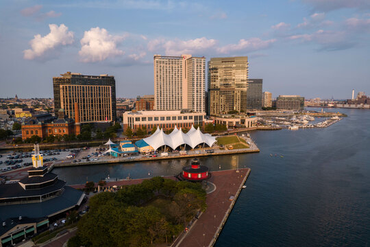 Aerial View of Baltimore City Inner Harbor at Sunset