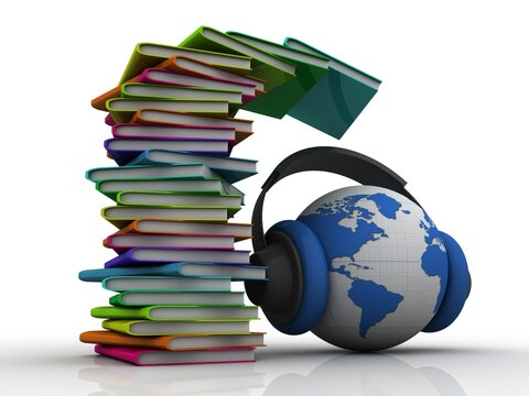 3d rendering students education book with headphone connected globe