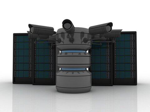 3d illustration Data center server connected database protected cctv camera