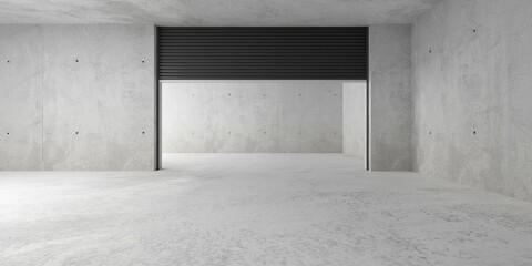 Empty modern abstract concrete room with open rolling gate on back wall and rough floor, product presentation template background