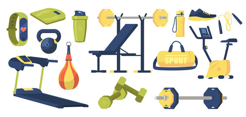 Fototapeta Set of Gym Elements Sport Bag, Dumbbells, Barbell and Scales, Punching Bag, Shaker, Chair, Sneakers, Treadmill, Bicycle obraz