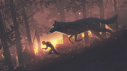 A man running in the forest with his legendary wolf, digital art style, illustration painting