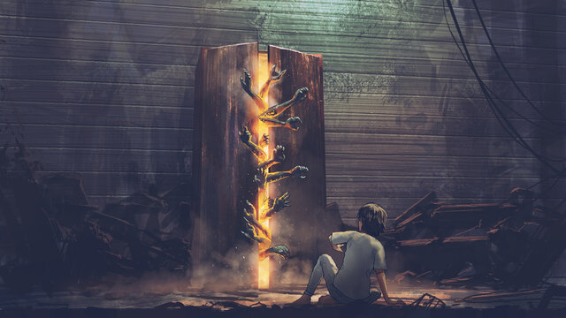 The child scarying to see the hands sticking out from the old cabinet, digital art style, illustration painting