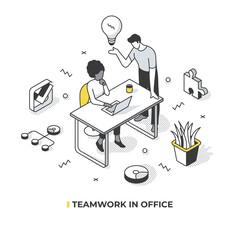 Teamwork in Office Isometric Illustration