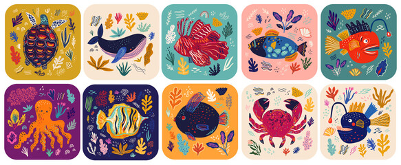 Obraz Big colourful collection wit cute funny cards on marine life theme. Underwater world cards for kids design. Vector illustrations with sea turtle, whale, fishes, seaweed - fototapety do salonu