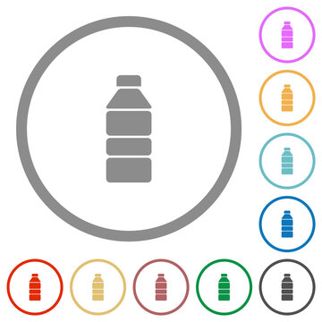 Water bottle solid flat icons with outlines