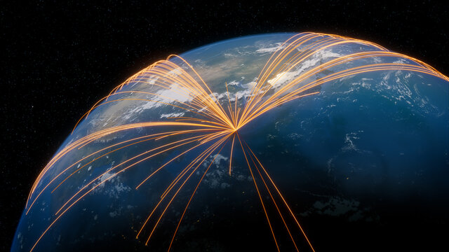 Earth in Space. Orange Lines connect Taipei, Taiwan with Cities across the World. Global Travel or Business Concept.