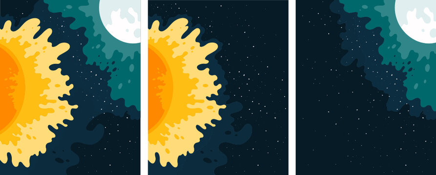 Three vector illustrations with moon and sun and stars.