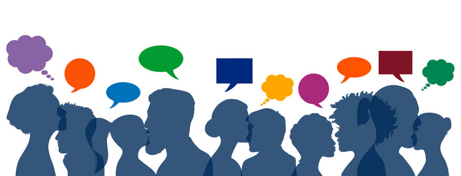 Community people heads silhouette with colorful thinking and speech boxes panorama banner team vector. Human chatting and communication concept