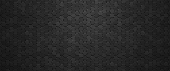 Industrial black gradient hexagons background