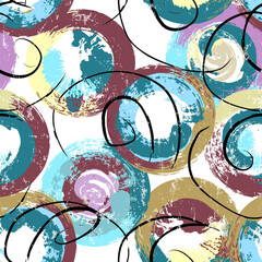 seamless background pattern, with circles, swirls, paint strokes and splashes, grungy