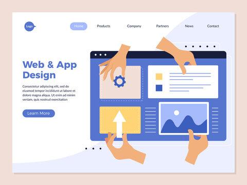Hands app programming landing. Design studio ui application creation creative processes human hands holding interface geometrical ellements recent vector web page template