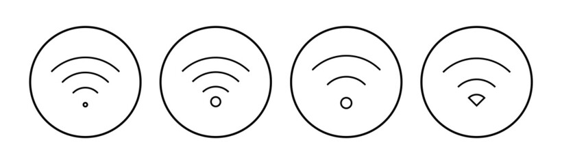 Fototapeta Wifi icon set. signal vector icon. Wireless  icon vector obraz