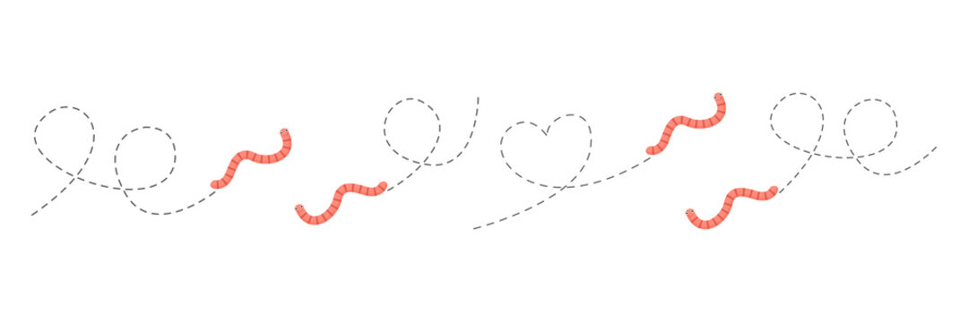 Cute worms on a dotted route set. Cartoon earthworm collection. Vector illustration isolated on white.
