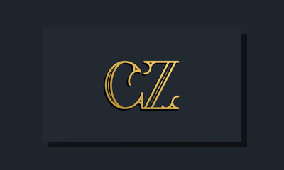 Fototapeta Minimal Inline style Initial CZ logo. obraz