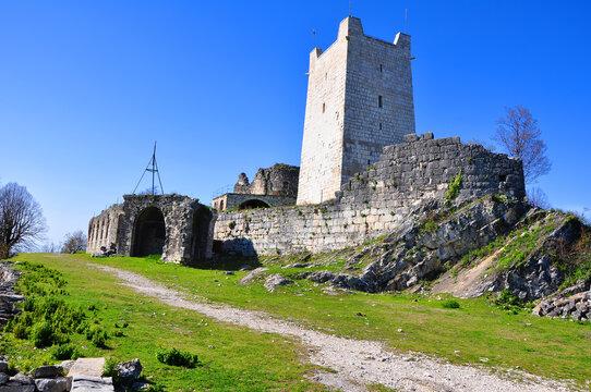 Ruins of the Anakopia fortress on the Iverskaya mountain. New Athos, Abkhazia