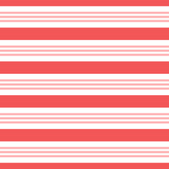 Vector seamless horizontal stripes pattern, candy cane. Christmas design for wallpaper, fabric, textile, wrapping.