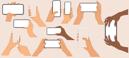 Flat Hand gestures on the touch screen. Hands on the multi-touch screen of smartphone and tablet. Touch the screen drag scroll or search for something isolated on white background. Buy online. Vector