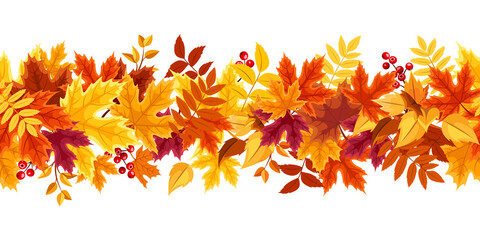 Vector horizontal seamless border with red, orange, yellow, purple and brown autumn leaves.