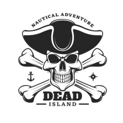 Pirate captain skull and crossed bones icon. Vector emblem with jolly roger in cocked hat. Filibusters skeleton head, anchor and wind rose monochrome isolated vintage label for nautical adventure club
