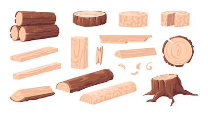 Cartoon lumber. Wood materials. Forest tree trunk and log. Branches with bark. Wooden plank and stump. Oak or pine natural construction board for carpentry. Vector sawmill products set