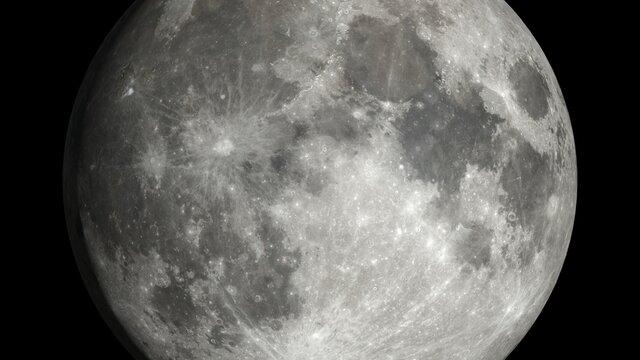 La lune - haute définition - Rendu 3D - Texture fournie par la Nasa