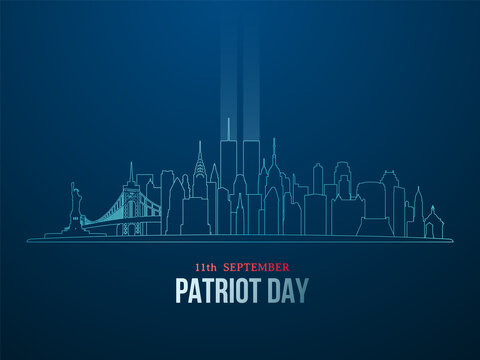 New York City skyline with silhouette of Twin Towers in linear style. September 11 attacks. Patriot day vector banne