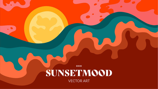 Sunset. Sunrise. Nature. Modern flat vector banner illustration of natural background. Vacation on the beach. Festival feeling. Holiday Feeling. Drawings from the hand of sunset and sunrise.