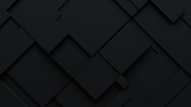 Black, Tech Background with a Geometric 3D Structure. Dark, Minimal design with Simple Futuristic Forms. 3D Render.