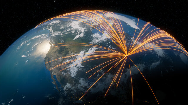 Earth in Space. Orange Lines connect Boston, USA with Cities across the World. International Travel or Communication Concept.