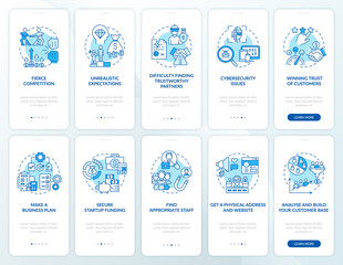 Startup launch blue onboarding mobile app page screen set. Starting business walkthrough 5 steps graphic instructions with concepts. UI, UX, GUI vector template with linear color illustrations