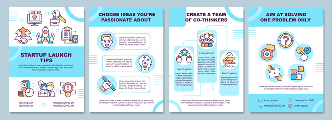 Startup launch tips brochure template. Create a team. Choose idea. Flyer, booklet, leaflet print, cover design with linear icons. Vector layouts for presentation, annual reports, advertisement pages